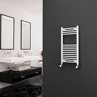 Eastgate White Curved Heated Towel Rail 800mm High x 400mm Wide